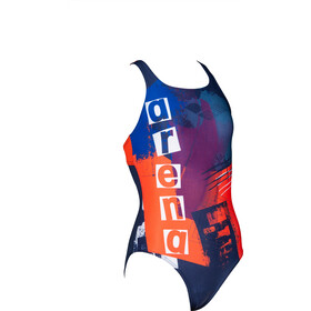 arena Rock Swim Pro Back One Piece Swimsuit Meisjes, navy/nectarine
